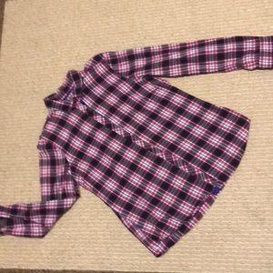 Eddie Bauer Lg Pink/Grey/Purple Flannel Shirt